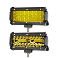 ingrosso le barre gialle gialle hanno portato-7 pollici Led Off Road Light Barra per camion ATV Moto 4x4 12V Combo Fascio giallo ambra Luci di guida di lavoro Bar Fendinebbia
