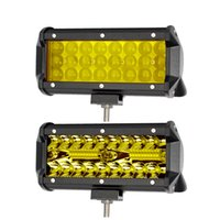 barra de luz led amarilla al por mayor-Barra de luz de carretera LED de 7 pulgadas Barra para camiones ATV Motocicleta 4x4 12V Combo Viga Ámbar Amarillo Trabajo Luces de conducción Bar Lámpara antiniebla