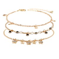 c81f9df7a 3Pcs Set Women Sweet Design Anklets for Party Handmade Beaded Gold Plated  Crystal Star Anklets Bracelet Chain for Bride for Wedding Party