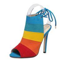 ingrosso tacchi alti-2018 nuove donne di estate sandali arcobaleno colore lace up sexy tacchi alti flock open toe moda tacchi gladiatore grandi dimensioni scarpe da donna
