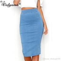 e8fe1dc9aa5 Colysmo Women Denim Skirts Plus Size High Waist Midi Skirt Summer Pencil  Skirt Jeans Lady Long Bodycon Denim Skirt Saia Midi New
