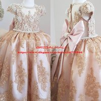 Wholesale girls pageant glitz gown dress for sale - Group buy Luxurious Beading Pearls Lace Flower Girl Dresses Short Sleeves Little Glitz Girl Wedding Guest Dress Kids Formal Pageant Party Gowns