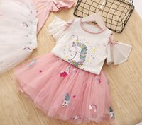 Wholesale retail girl shirt for sale - Retail kids outfits girls trumpet sleeves cartoon unicorn shirt fluffy embroidered mesh skirt two piece summer set designer baby tracksuit