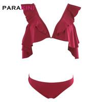 ingrosso vestito di bagno di colore rosso-PARAKINI Completi bikini con balze rosse increspate da donna Stringate da bagno svegli con due pezzi da bagno 2019 Costumi da bagno da spiaggia per ragazze