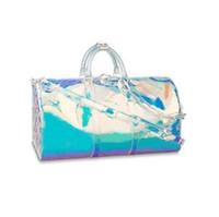bolsas de marca coloridas venda por atacado-Chegam novas marca de moda saco de designer de luxo PVC prisma colorido a laser keepall 50 bagagem dos homens das mulheres designer bolsas bolsas duffle bag