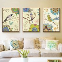 cartel de lona vintage al por mayor-Gohipang Noble Bird Flower Nordic Poster Arte de la pared Carteles e impresiones Vintage Canvas Canvas For Living Room Decor