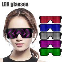 ingrosso occhiali da concerto-Nuove 8 modalità Quick Flash Led Party Glasses Carica USB Occhiali da sole luminosi Eyewear Christmas Concert luce Giocattoli