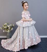 vestidos de niña bonita flor de plata al por mayor-Bastante plata / del color de rosa de la joya apliques chica hizo vestidos del desfile de los vestidos de flores niña vestidos de fiesta de la princesa de la falda del niño personalizado 2-14 H315408