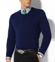 suéter de algodón negro al por mayor-Marca Casual para hombre Polo Suéteres O-cuello Pequeño Pony Bordado Algodón Hombre Suéter de punto Invierno Manga larga Racing Ropa de punto Negro Blanco