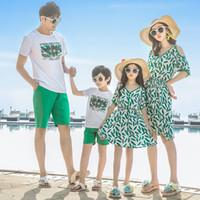 eşleşen anne oğlan giysileri toptan satış-Yaz aile bak anne kızı eşleştirme elbiseler anne ve ben giysi anne anne kız elbise baba oğul kıyafetler aile giyim setleri