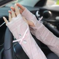 dantel takımları toptan satış-Yaz güneşlik dantel buz kol eldiven kiti Açık sürüş için yaz güneş koruyucu kollu 6 renkler 1 grup = 2 adet