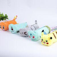 kalem anime toptan satış-Cep Canavar Gidelim! Bulbasaur Pikachu Peluş Saklama Çantası Peluş Kalem Kutusu Peluş Oyuncaklar Toptan