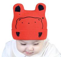 chapéus de beisebol dos meninos infantis venda por atacado-Infantil Kintting Chapéus Bebê Meninas Meninos Urso Tampas Crianças Bebê Urso Boné de Beisebol Dos Desenhos Animados Do Bebê Menino Chapéus Criança Acessórios