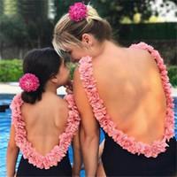 çocuklar mayo çiçek toptan satış-Çiçek Kızlar mayo çocuk mayo anne ve kızı eşleştirme kıyafetler aile eşleştirme kıyafetler Anne ve Kız bikini Mayolar A6835