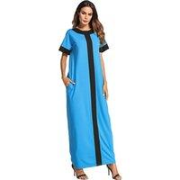 vestido muçulmano casual venda por atacado-Ocasional Maxi Vestido Completo Abaya Verão Camisa Patchwork Solto Longo Robe Vestidos Vestido Muçulmano Kimono Oriente Médio Vestuário Islâmico