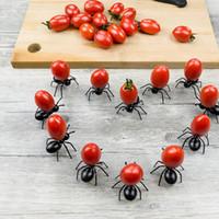 parti meyve çatalı toptan satış-12 PCS Karıncalar Gıda Meyve Home Kitchen Parti Akşam Meyve için meyve Çatal Ant Şekli Çatallar Snack Kek Tatlı bulaşığı Seçtikleri D5 Seçim