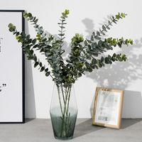 ingrosso artificial plant-Piante artificiali Plastica morbida Eucalipto Piante verdi Home Decor Fiori finti Foglie Decorazione di nozze Simulazione Bonsai