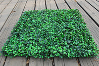ingrosso tappetino artificiale per giardino-100 pz / lotto 25 x 25 cm tappeto erboso artificiale simulazione di plastica bosso erba stuoia verde erba milano per la casa decorazione del giardino