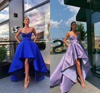 Wholesale short black dreses for sale - Group buy Royal Blue High Low Evening Bridesmaid Dreses Satin Sweethearth Ruched Short Front Long Back Homecomin Birthday Party Prom Formal Dress