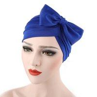 ingrosso cappello della donna nodo-Alta qualità Nuovo design di moda Cheap Head Wear Wrap Cap Bow Knot Fiore Decorarive Donne Turbante Hat perdita di capelli Chemo Turbanti