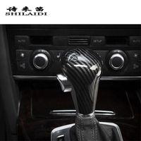 fibra de carbono audi a5 venda por atacado-Fibra De carbono Styling Car Shift Gear Knob Cabeça Cobre Adesivos Para Audi A6 C6 A4 B7 Q5 A5 Q5 Automático Alavanca de Câmbio guarnição Acessórios