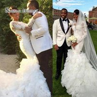 Wholesale sexy summer wedding dresses online - Luxury African Mermaid Wedding Dresses Tiered Long Train New Illusion Long Sleeves Lace Applique Beaded Jewel Neck Formal Bridal Gowns