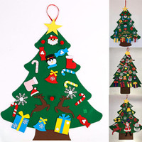 árbol de navidad colgar puerta al por mayor-DIY fieltro regalos árbol de Navidad con adornos de Navidad Año Nuevo puerta colgar de la pared Decoración de Navidad para niños Accesorios Manual 7 estilo WX9-1588