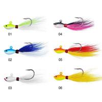 balık jig balıkçılık cazibesi toptan satış-28g Aydınlık Bucktail jig 6 renkler Kurşun kafa Jig Balıkçılık Lures bucktail büyük oyun balıkçılık yemler LJJZ371