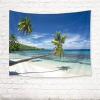 Ozean Wandteppich und Tagesdecke Palm Leaf Tropical Beach Druck