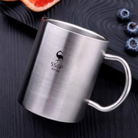 Wholesale high tea china resale online - 304 Stainless Steel Coffee Mug Double Layer Anti Scald Cup Drinking Beer Water Tea Anti Fall Metal Travel Tumbler High