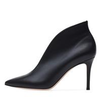 botas us14 venda por atacado-2019 novos sapatos de grife de inverno botas de moda apontou dedos de couro de salto alto ankle boots stiletto calcanhar Patchwork Martin Botas mulheres sapatos