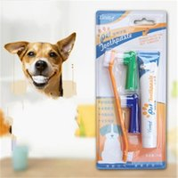 Wholesale sport heads online - Dog Toothpaste Double Head Toothbrush Piece Suit Edible Dentifrice Pet Oral Cavity Clean Supplies Non Slip Soft zx C1