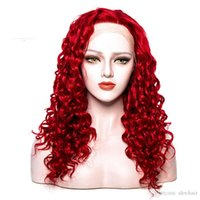 Wholesale kinky curl synthetic lace front wig for sale - Group buy Woman Wig Synthetic Kinky Curl Red Color For Women Heat Resistant Glueless Long Red Kinky Curly Lace Front Wigs Synthetic