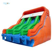 venta de diapositivas inflables al por mayor-Venta y mejor material de PVC de doble carril tobogán inflable parque acuático juego de diapositivas
