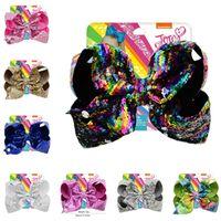 Wholesale mermaid bows resale online - 8 inch Jojo Glitter Mermaid Flip Sequin Big Bow Hairpin Baby Girls Gradient Paillette Barrettes Kids Bling Hair Clip Hair Accessories A21503
