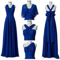 kısa şeftali gelinlik toptan satış-Uzun şifon Dönüştürülebilir nedime Lace Up 2020 Royal Blue Wedding Guest Elbiseler% 100 Gerçek Resimler