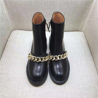 Wholesale bling ankle boots resale online - Hot Sale Best selling women boots fashion Metal chain low heels high quality leather ankle boots zipper bling Short Booties shoes