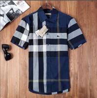 cheque camisas de moda al por mayor-Marca de los hombres de negocios camisa casual para hombre de manga larga a rayas slim fit camisa masculina social masculina camisetas nueva moda hombre comprobado shirt02