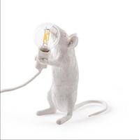 siyah ledli masa lambası toptan satış-FARE LAMP LED E12 Siyah Beyaz Hayvan Sıçan Fare Masa lambaları Işıkları Reçine Gece Işıkları Hayvan Sanat Altın Fare Masa Lambaları Işıkları