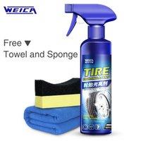 spray de brilho venda por atacado-Tire Shine Spray Cleaner Roda de carro Pneu Cuidados de limpeza Kit de lavagem