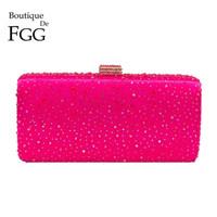 ingrosso borsa della scatola metallica delle donne-Boutique De Fgg Hot Pink Fuchsia Crystal Clutch Borse da sera Donna Diamond Metal Box Borsa della festa nuziale frizioni borsa da sposa Y19051702