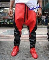 mens black harem pants toptan satış-Yeni 2019 Erkek Hip Hop Moda Kişilik Siyah Ve Kırmızı Renk Eşleştirme Rahat Pu Harem Pantolon Deri Pantolon Pantolon erkek Artı Boyutu kostümleri