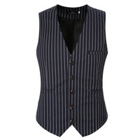 знаменитые жилеты оптовых-New  Clothing Suit Vests Men Fashion Formal Prom Party Striped Slim Fit Single Breasted Dress Vest