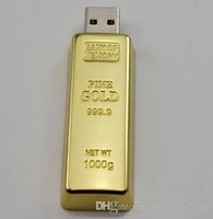 sopa 128gb boş dhl toptan satış-N Fabrika fiyat 50 adet DHL Ücretsiz kargo Altın bar 64 GB 128 GB USB Flash Metal Pen USB Bellek Sürücüsü Flash Sürücü Pendrive ...
