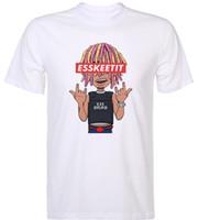 hop pink t shirts achat en gros de-Lil Pump Esskeetit Argent Rap Chanteur Hip Hop Musique Hommes Drôle Nouveauté VENTE CHAUDE Hommes Fierté Foncé T-shirt Costume Chapeau Rose T-shirt
