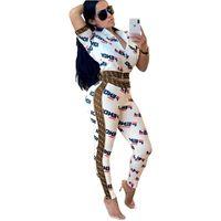 70e6ae30ecad5 Womens Letter Printed Two Piece Tracksuit F Letters Crop Tops Long Pants  Outfits Bodycon Sweatsuit Set Short Sleeve Zipper Jacket Suit C434