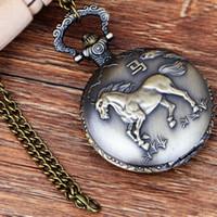 reloj diseñado chino al por mayor-Pocket Fob Watches Chinese Zodiac Animal Horse Design Cuarzo Pocket Watches Vintage Fob Regalo para Hombres / Mujeres
