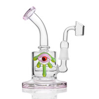 Wholesale cigar water pipe for sale - Group buy Hot Sale Pink Solid Base Eye Decoration Heady Glass Bong Water Pipe Dab Rig Tobacco Cigar Pipe Hookah with Quartz Banger Nail