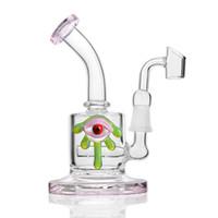 ingrosso tubo di acqua sigaro-Vendita calda rosa solido base decorazione occhi inebriante vetro bong tubo dell'acqua Dab rig tabacco pipa sigaro narghilè con quarzo banger nail