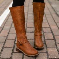 ingrosso stivali alti in coscia-A metà coscia stivali marroni Donne in pelle vintage tacco quadrato dell'altezza Zipper ginocchio fibbia di avvio, tenere al caldo Scarpe a punta arrotondata British Style